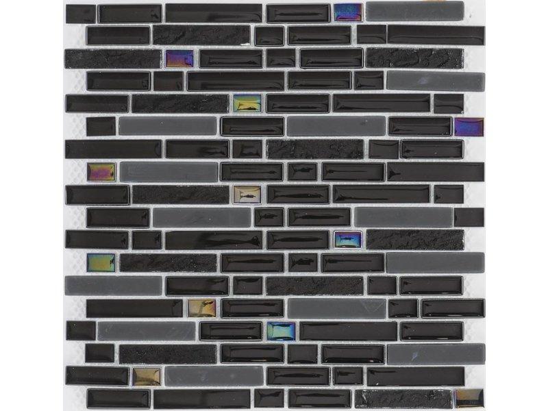 Glasmosaik Black Rainbow, glänzend- 30cm x 30cm