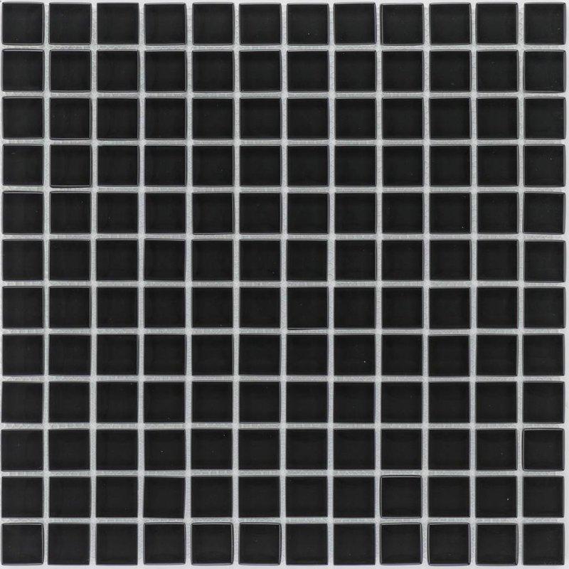 Glasmosaik Schwarz, glänzend - 30cm x 30cm