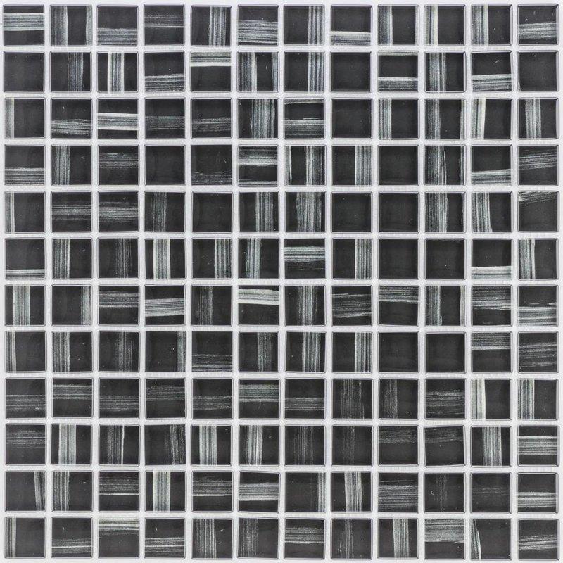Glasmosaik Art Deco black, glänzend - 30cm x 30cm