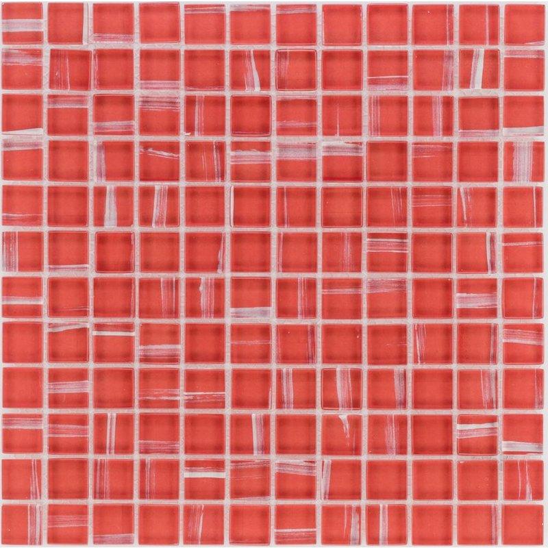 Glasmosaik Art Deco Red, glänzend - 30cm x 30cm
