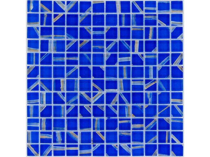 Glasmosaik Art Deco Blue Silver Wave, glänzend - 30cm x 30cm