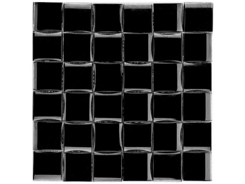 Glasmosaik 3D Black - 26cm x 26cm