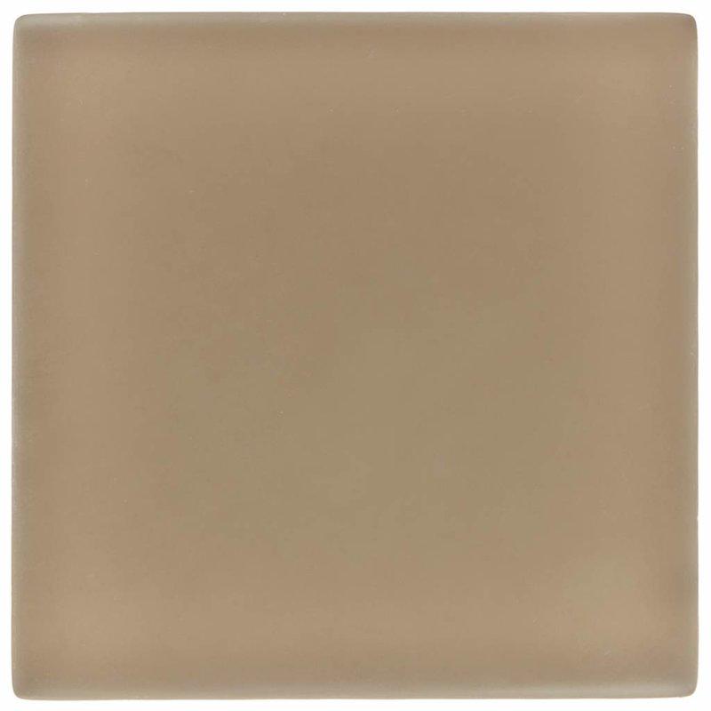 Glasmosaik Hellbraun, glänzend - 10 cm x 10 cm