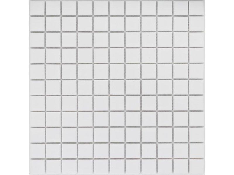 Keramik Mosaikfliese Weiß, matt- 30,2 cm x 30,2 cm