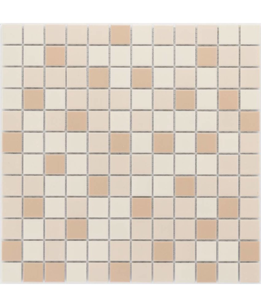Keramik Mosaikfliese Beige Mix, matt - 33 cm x 33 cm