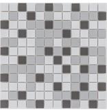 Keramik Mosaikfliese Grau Mix, matt - 33 cm x 33 cm
