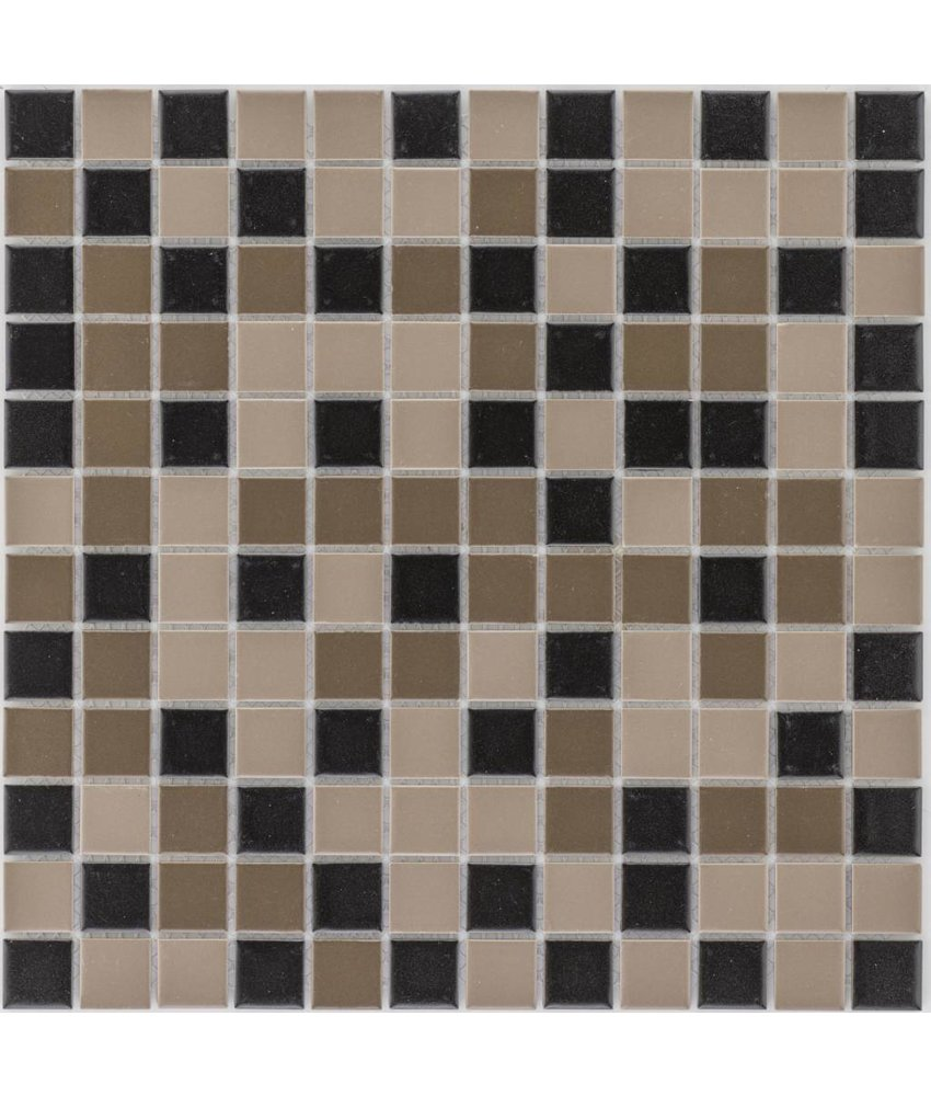 Keramik Mosaikfliese Schwarz Braun, matt - 33 cm x 33 cm