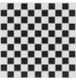 Keramik Mosaikfliese Schwarz Weiß, matt - 30,2 cm x 30,2 cm