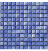 Keramik Mosaikfliese Blau Melange, matt - 33 cm x 33 cm