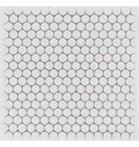 Keramik Mosaikfliese Weiß Knopf, glänzend - 31 cm x 31 cm