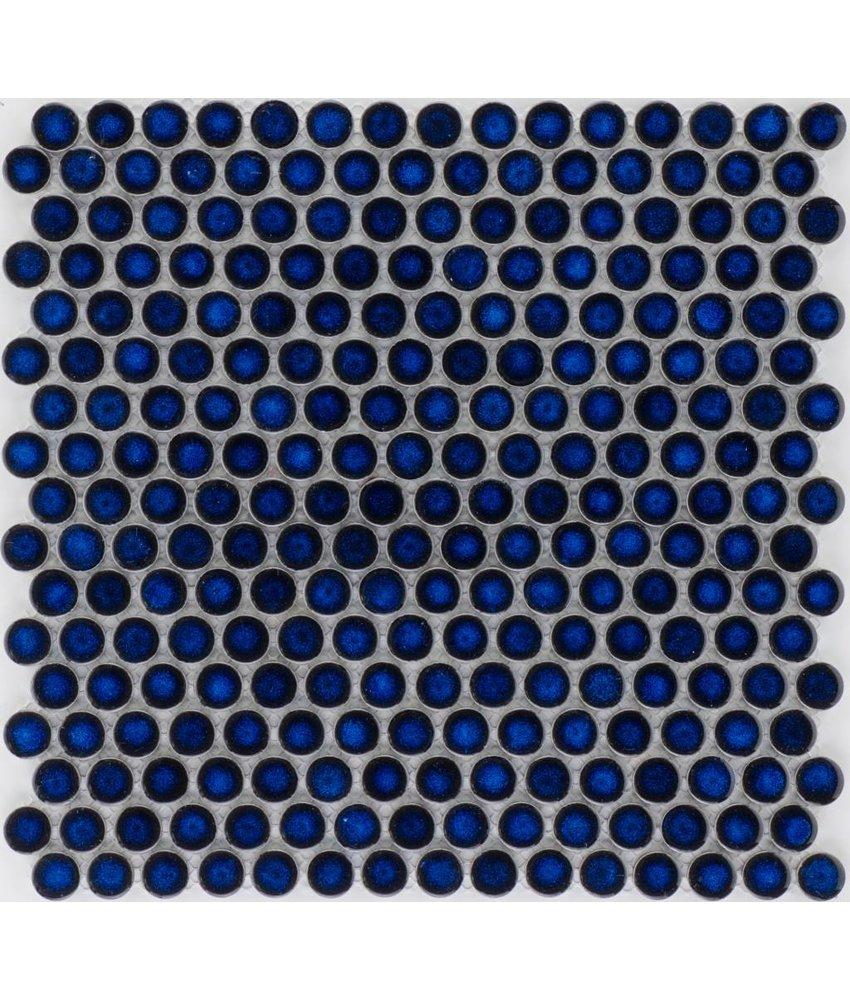 Keramik Mosaikfliese Blau Cristal Knopf, glänzend - 33 cm x 33 cm