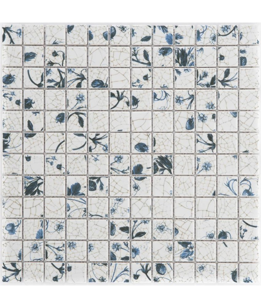 Keramik Mosaikfliese Delft Weiß, glänzend - 29,7 cm x 29,7 cm