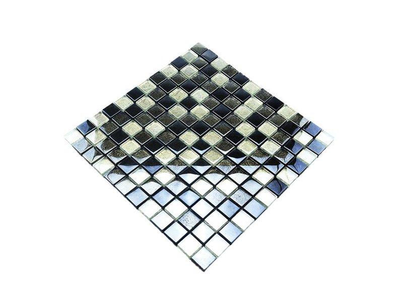GLASMOSAIK FLIESEN - silber / grau / schwarz - G2