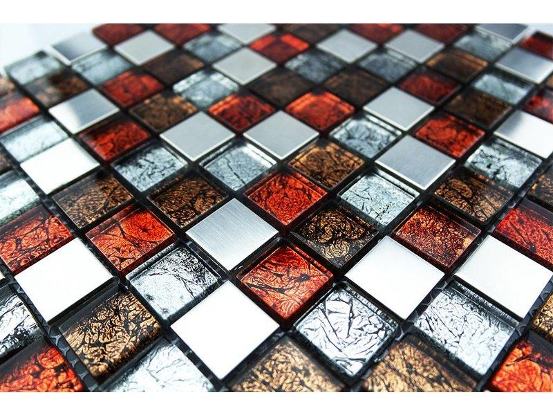 MOSAIKFLIESEN - Glas / Edelstahl - silber / braun / rot - GM1
