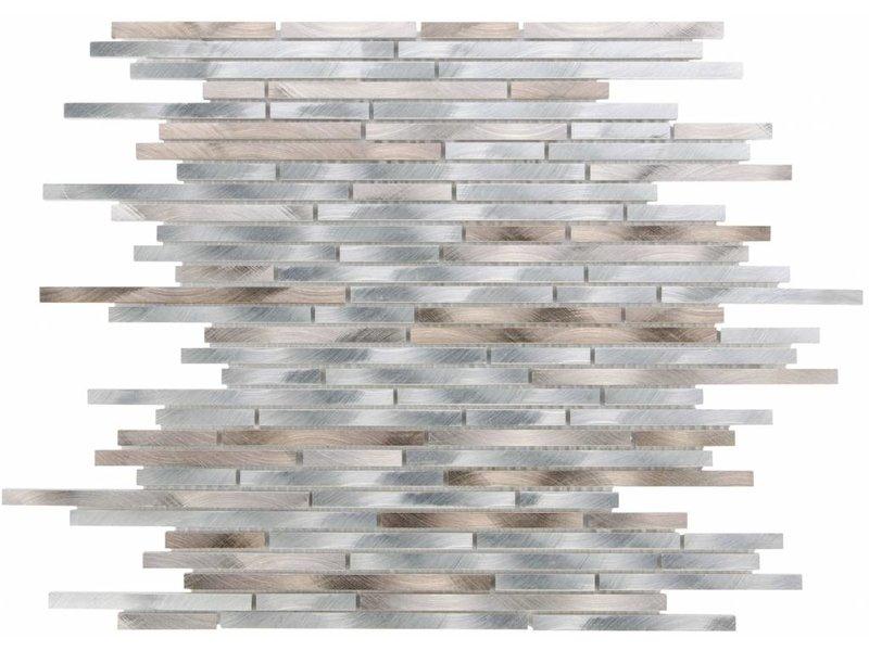 Mosaikfliese Metall Aluminium Brown Silver - 30 cm x 40 cm