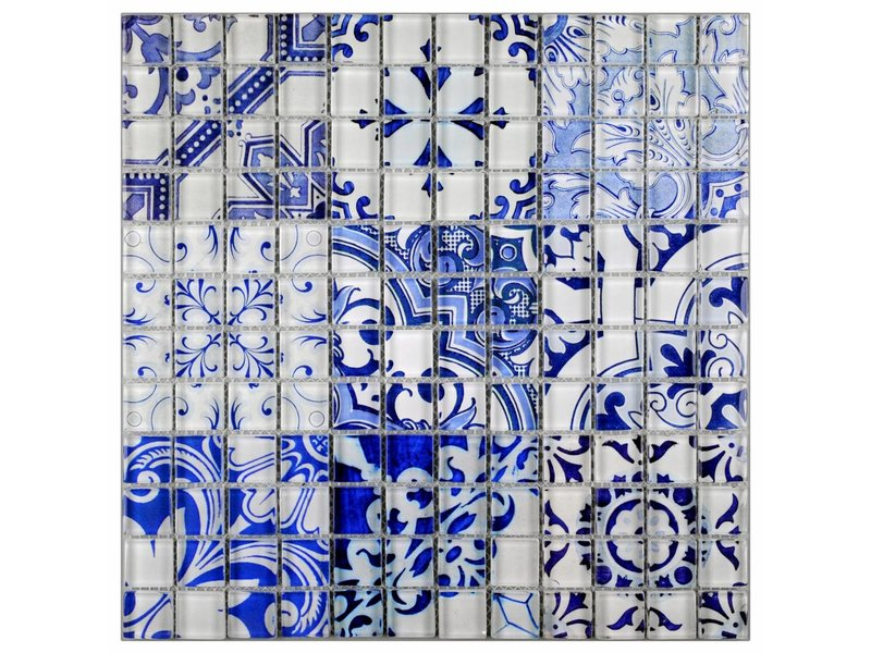 Glasmosaik Vintage Retro Blau, glänzend - 30 cm x 30 cm