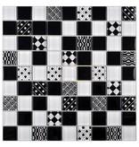 Glasmosaik Vintage Retro Schwarz Weiß, glänzend - 29,2 cm x 29,2 cm