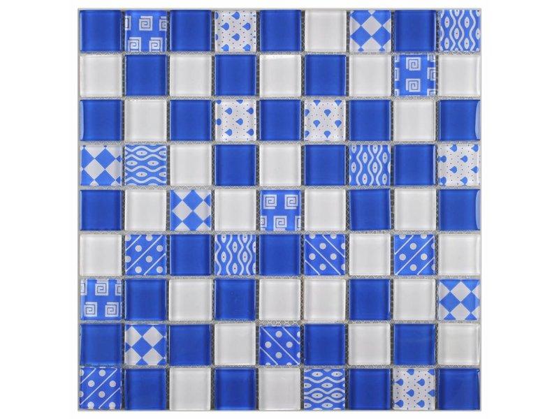 Glasmosaik Vintage Retro Blau, glänzend - 29,2 cm x 29,2 cm