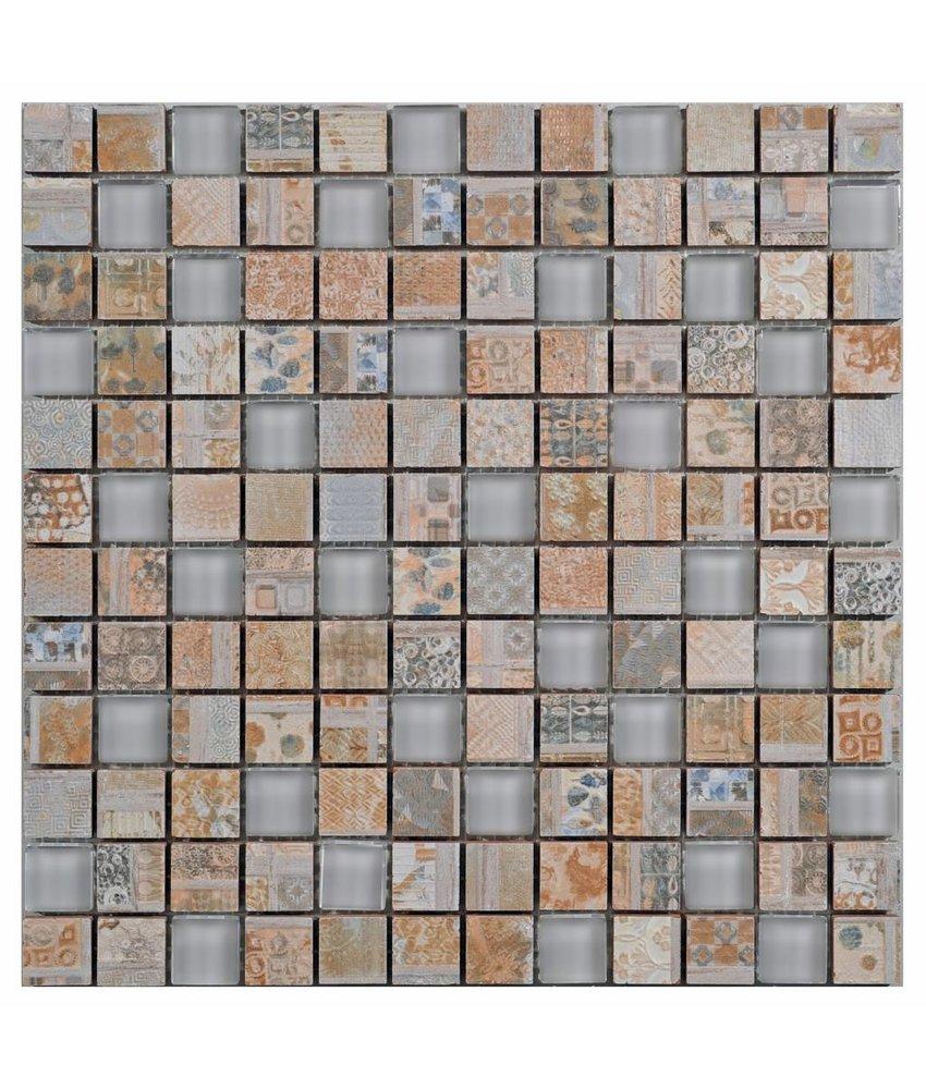 Mosaik Glas & Keramik Vintage Retro Beige - 30 cm x 30 cm
