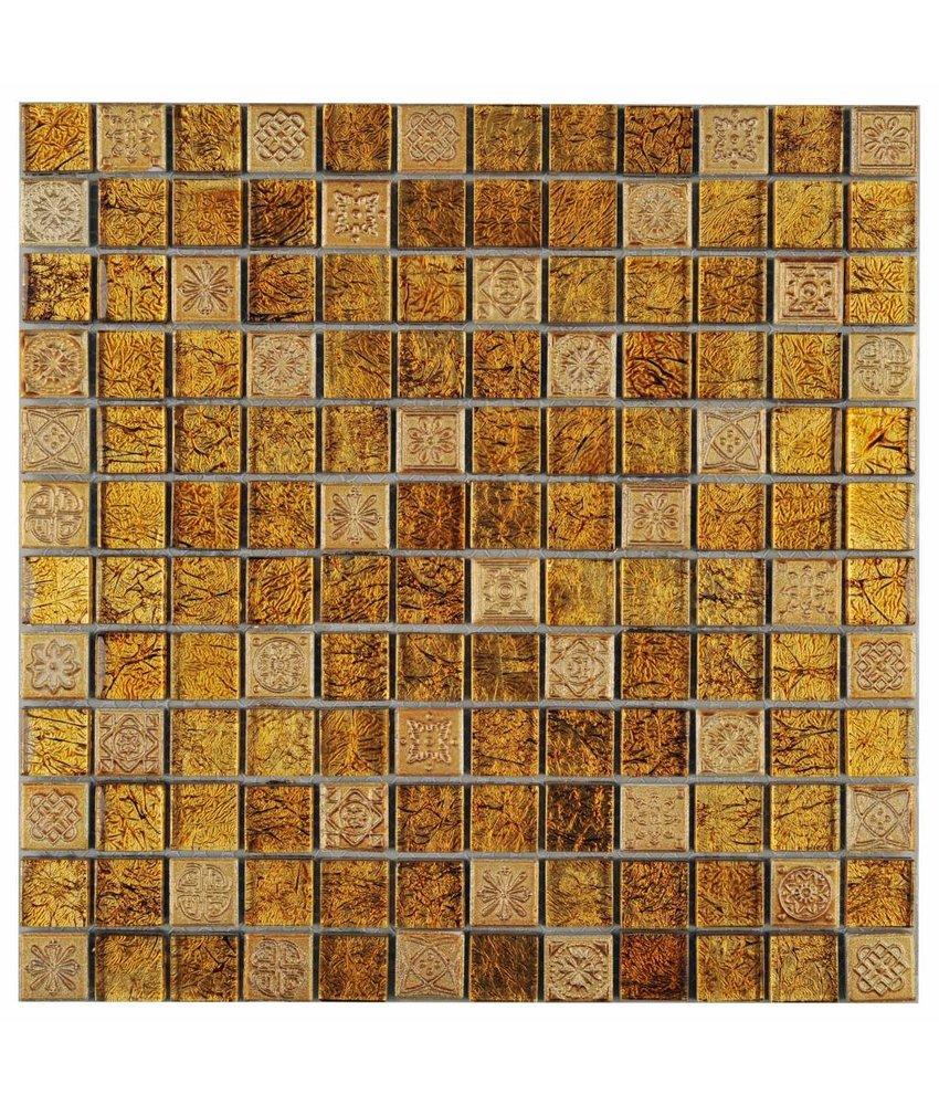 Mosaik Glas & Naturstein Inka Gold Relief 30 cm x 30 cm