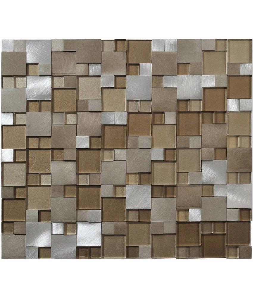 Mosaik Glas & Alu Beige 3D brushed 27 cm x 30 cm