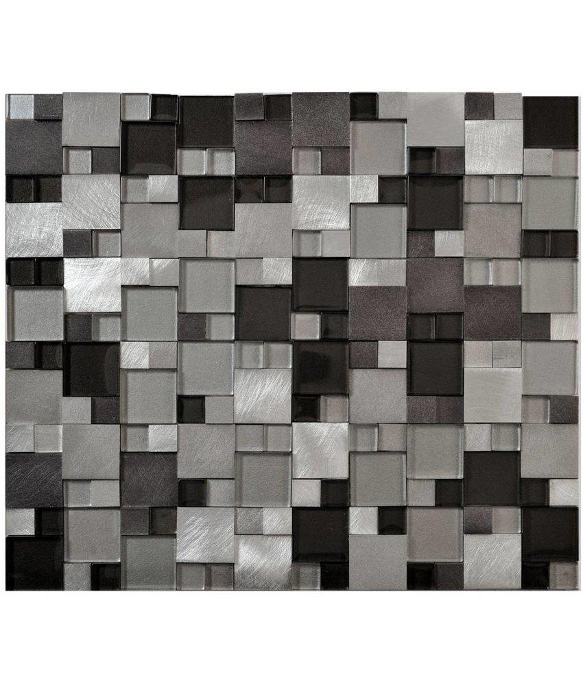 Mosaik Glas & Alu Grey 3D brushed 27 cm x 30 cm