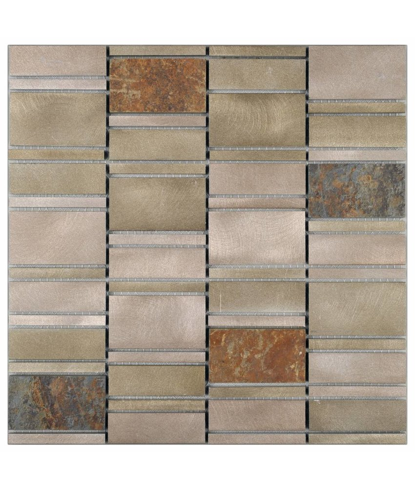 Mosaik Alu & Schiefer Beige 29,6 cm x 30 cm