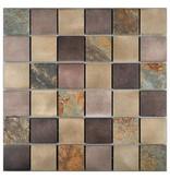 Mosaik Alu & Schiefer Dark Grey Beige Mix 30 cm x 30 cm