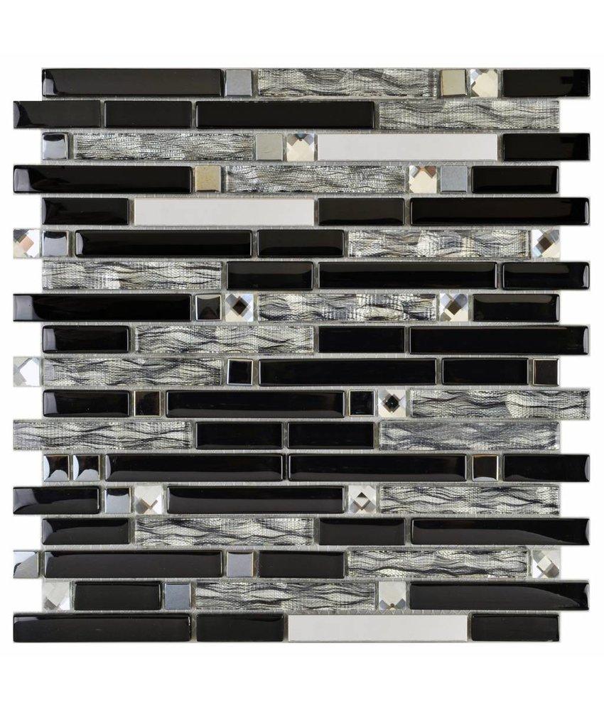 Mosaik Glas & Metall Crystal Black Brick 30 cm x 30 cm