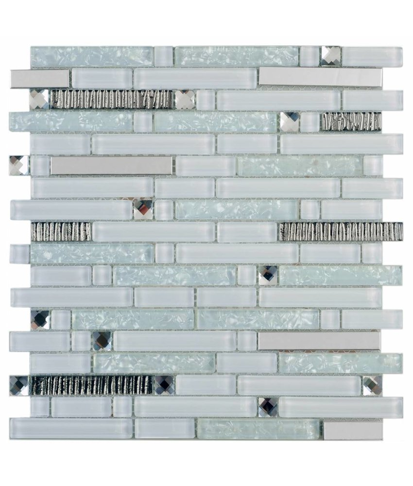 Mosaik Glas & Metall Crystal Silver Brick 30 cm x 30 cm