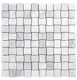 Mosaik Marmor Basketwave Weiß poliert - 30 cm x 30 cm