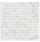 Mosaik Marmor Basket 3D Weiß poliert - 30 cm x 30