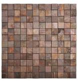 Mosaik Metall Kupfer 3D, quadratische Steine - 30 cm x 30 cm