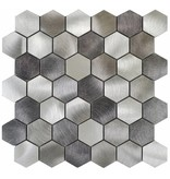 Mosaik Metall Alu Silver Hexagon - 30 cm x 30 cm