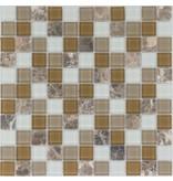 Mosaik Glas & Marmor Mix Braun Beige Weiß - 30 cm x 30 cm