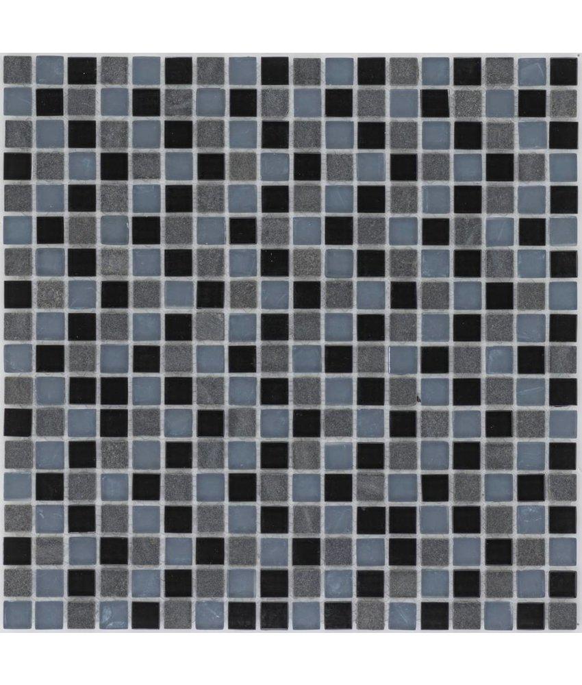 Mosaik Glas & Marmor Schwarz Grau- 30 cm x 30 cm