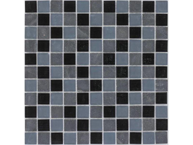 Mosaik Glas & Marmor Schwarz Grau Mix - 30 cm x 30 cm