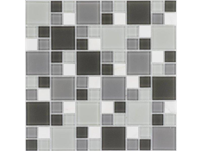 Mosaik Glas & Marmor Weiß Grau - 30 cm x 30 cm