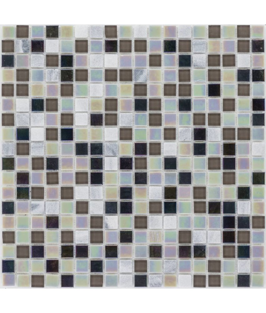 Mosaik Glas & Naturstein Black Grey Perlmutt - 30 cm x 30 cm