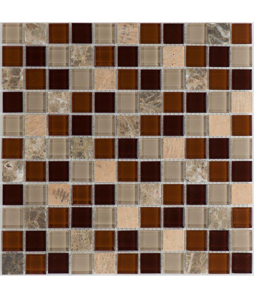 Mosaik Glas & Naturstein Galicia Brown Mix - 30 cm x 30 cm