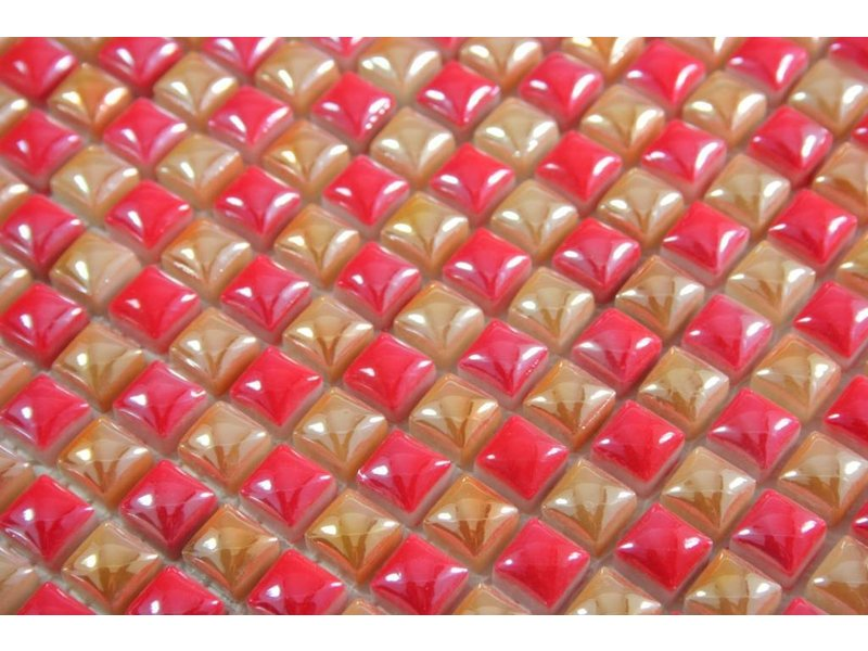 GLASMOSAIK FLIESEN - Sevilla - gold / rot / perlmutt