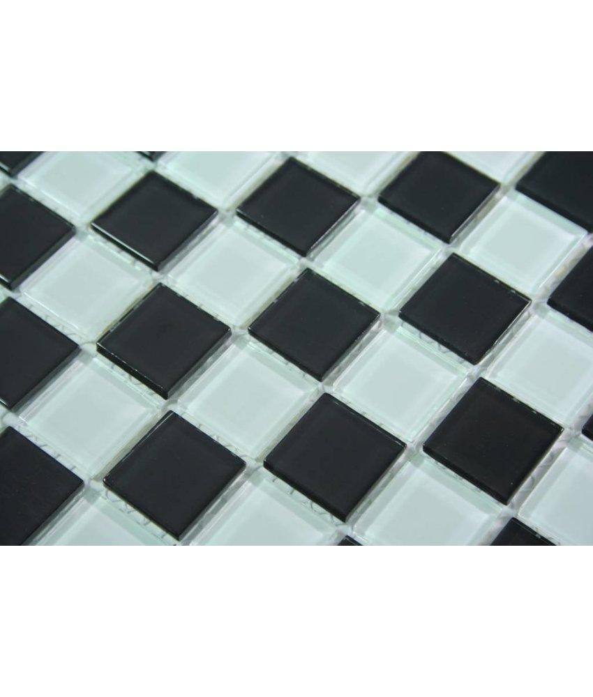 GLASMOSAIK FLIESEN - Antalya - schwarz / weiß