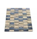 MOSAIKFLIESEN - Khartum - Glas / Stein / Keramik - silber / beige / blau