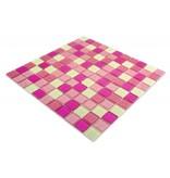 GLASMOSAIK FLIESEN - Carolyna - pink mix / weiß / glitzer