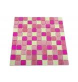 GLASMOSAIK FLIESEN - Brighton - pink mix / weiß / glitzer