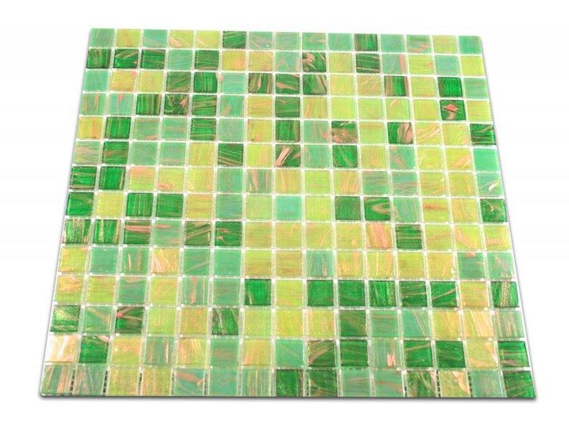 GLASMOSAIK FLIESEN - London – grün / gold / kupfer