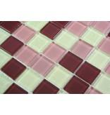 GLASMOSAIK FLIESEN - Brusseles - braun / weiß / rosé