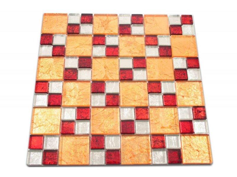 GLASMOSAIK FLIESEN - Lagos - rot / silber / gold