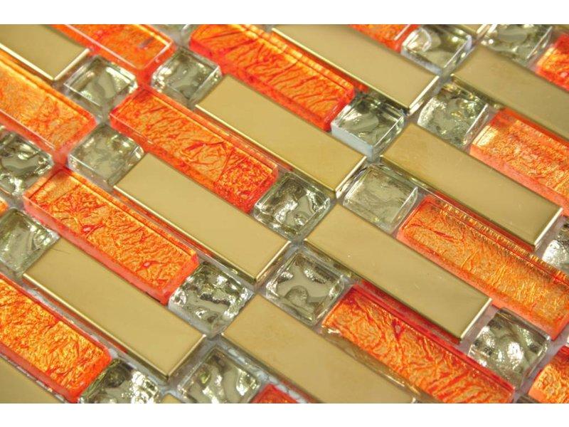 MOSAIKFLIESEN - Shanghai - Glas / Edelstahl - orange / gold