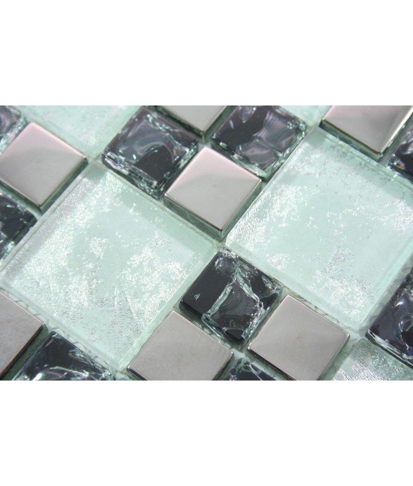 GLASMOSAIK FLIESEN - Peking – weiß / schwarz / silber